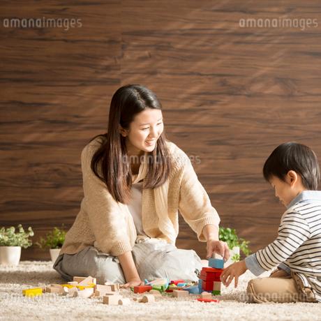 積み木で遊ぶ親子の写真素材 [FYI02849874]