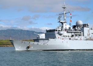 The French navy frigate FS Prairial departs Joint Base Pearlの写真素材 [FYI02851431]
