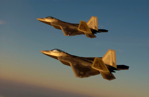 F-22A Raptors fly over Langley Air Force Base, Virginia.の写真素材 [FYI02851472]