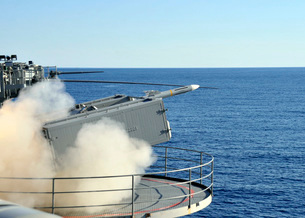 A RIM-7 Sea Sparrow is launched from a Mk-57 aboard aircraftの写真素材 [FYI02851540]