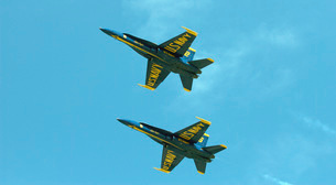 The Blue Angels perform aerial demonstrations during an airの写真素材 [FYI02851552]