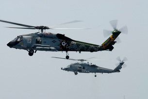 An SH-60F and HH-60H Seahawk helicopter in flight.の写真素材 [FYI02851615]