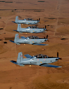 A formation of Iraqi Air Force T-6 Texan trainer aircraft over Tikrit, Iraq.の写真素材 [FYI02851706]