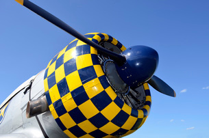 Close-up view of the propeller on an AT-6F Texan aircraft.の写真素材 [FYI02851736]