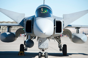 A Saab JAS-39C Gripen of the Swedish Air Force.の写真素材 [FYI02851799]