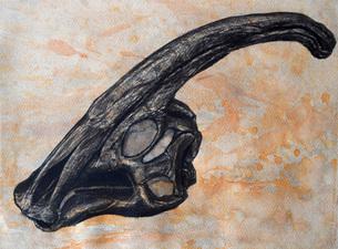 Parasaurolophus walkerii dinosaur skull.のイラスト素材 [FYI02852307]