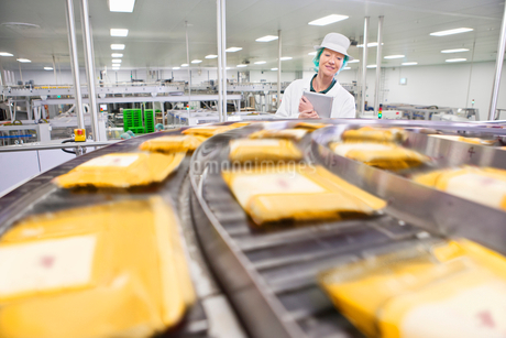 Quality control worker with digital tablet watching cheese at production line in processing plantの写真素材 [FYI02852398]