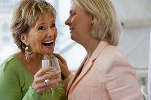 Two senior women talking at social gathering, holding wine glasses, laughingの写真素材 [FYI02852466]