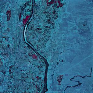 Satellite view of Albuquerque, New Mexico.の写真素材 [FYI02853063]