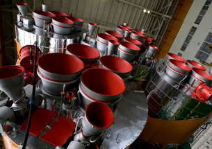 The boosters of the Soyuz TMA-14 spacecraft.の写真素材 [FYI02853175]
