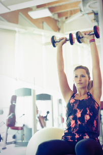 Focused woman doing dumbbell shoulder presses at gymの写真素材 [FYI02853563]