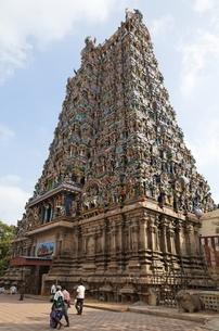 Sri Meenakshi Temple, 'gopuram' (temple tower)の写真素材 [FYI02853898]