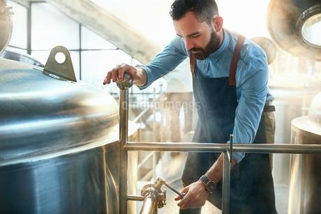 Male coffee roaster checking tank gaugeの写真素材 [FYI02853979]