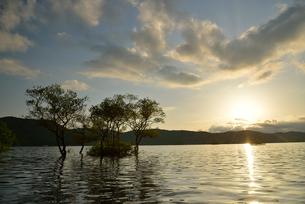 桧原湖から見る夕日の写真素材 [FYI02853986]