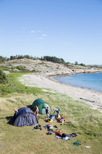 Sweden, Swedish West Coast, Halland, Kungsbackafjorden, Camping on sea coastの写真素材 [FYI02854209]