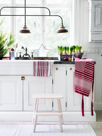 Kitchen interior in country homeの写真素材 [FYI02855387]