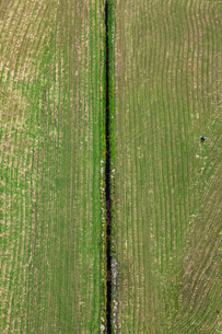 Finland, Uusimaa, Porkkala, Field divided by canalの写真素材 [FYI02855582]