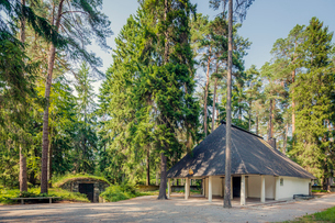 Sweden, Sodermanland, Stockholm, Gamla Enskede, Skogskyrkogarden, House among green trees under cleaの写真素材 [FYI02855691]