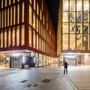 Sweden, Skane, Malmo, Entrance to Malmo Live at nightの写真素材 [FYI02855726]