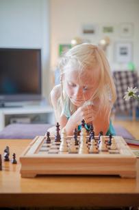 Sweden, Vastergotland, Lerum, Girl (8-9) playing chess in living roomの写真素材 [FYI02855822]