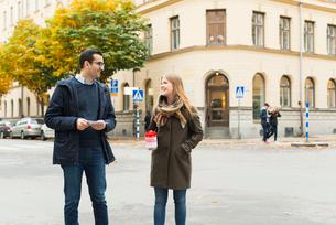Sweden, Sodermanland, Stockholm, Sodermalm, Charity volunteers on streetの写真素材 [FYI02855834]