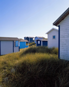 Sweden, Skane, Skanor med Falsterbo, Huts on grassy beachの写真素材 [FYI02855839]