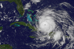 Satellite view of the eye of Hurricane Irene as it enters thの写真素材 [FYI02855963]