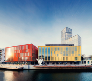 Sweden, Oresund Region, Skane, Malmo, Bagers plats, Malmo Live concert hall on sunny dayの写真素材 [FYI02856011]