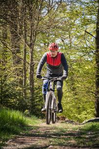 Sweden, Blekinge, Solvesborg, Ryssberget, Mature man riding on mountain bike through forestの写真素材 [FYI02856056]