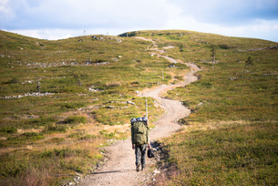 Person on a hiking trail at the Pallas-Yllastunturi National Park in Lapland, Swedenの写真素材 [FYI02856281]