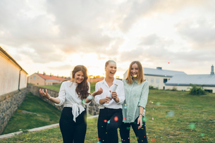 Three young woman using a confetti cannon outdoors in Karlskrona, Swedenの写真素材 [FYI02856318]