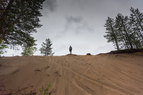 Woman standing on a sand duneの写真素材 [FYI02856347]