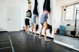 Germany, Young women and man practicing handstand in gymの写真素材 [FYI02856353]