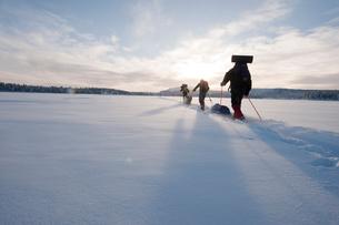 Sweden, Lappland, Jokkmokk, Three men cross-country skiing across frozen lake in winterの写真素材 [FYI02856401]