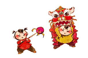Traditional Chinese lion danceのイラスト素材 [FYI02856562]