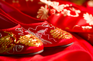Traditional Chinese wedding elementsの写真素材 [FYI02856599]