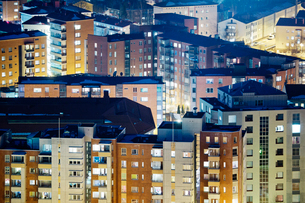 Finland, Paijat-Hame, Lahti, Blocks of flats at nightの写真素材 [FYI02856694]