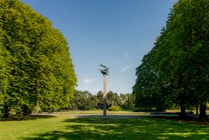 Sweden, Skane, Malmo, Pegasus statue in Kungsparken under clear skyの写真素材 [FYI02856714]