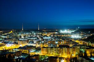 Finland, Paijat-Hame, Lahti, City at nightの写真素材 [FYI02856893]