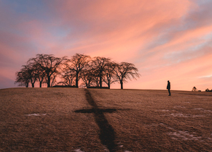 Person at The Woodland Cemetery at sunset in Sodermanland, Swedenの写真素材 [FYI02856905]