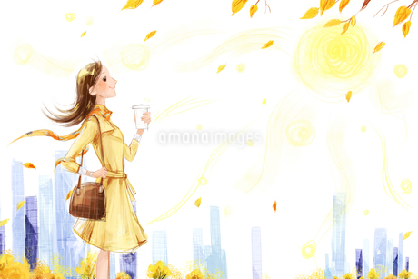 Young woman taking a walk in Autumnのイラスト素材 [FYI02857067]