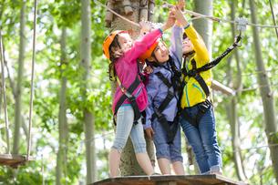 Happy children playing in tree top adventure parkの写真素材 [FYI02857368]