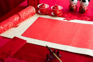 Traditional Chinese wedding elementsの写真素材 [FYI02857403]