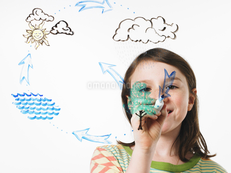 A girl drawing water evaporation cycle on a clear surfaceの写真素材 [FYI02857579]