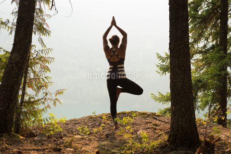 Fit woman performing stretching exercise in a lush green forestの写真素材 [FYI02857735]