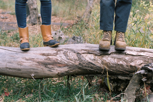 Close up of couple standing side by side on a tree trunk.の写真素材 [FYI02858044]