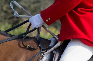 A Master of Foxhounds in a traditional hunting coat, on horseback.の写真素材 [FYI02858086]