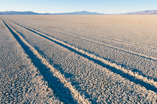 Tire tracks on the dry surface of the desert.の写真素材 [FYI02858118]