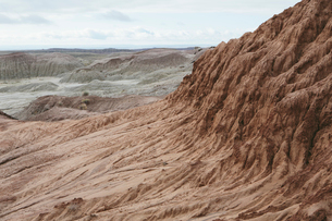 Elevated view of the Painted Desert rock formations in the Petrified Forest National Parkの写真素材 [FYI02858266]