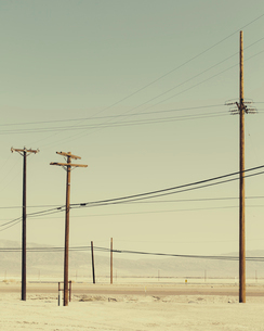 Telephone poles and power lines near Trona, California, USA.の写真素材 [FYI02858274]